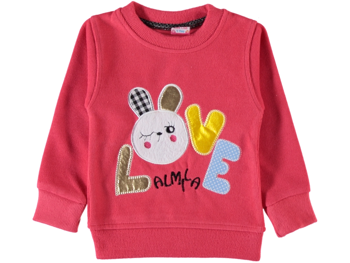 LOVE VARAK BASKILI SELANİK KIZ SWEAT 1/4 YAŞ
