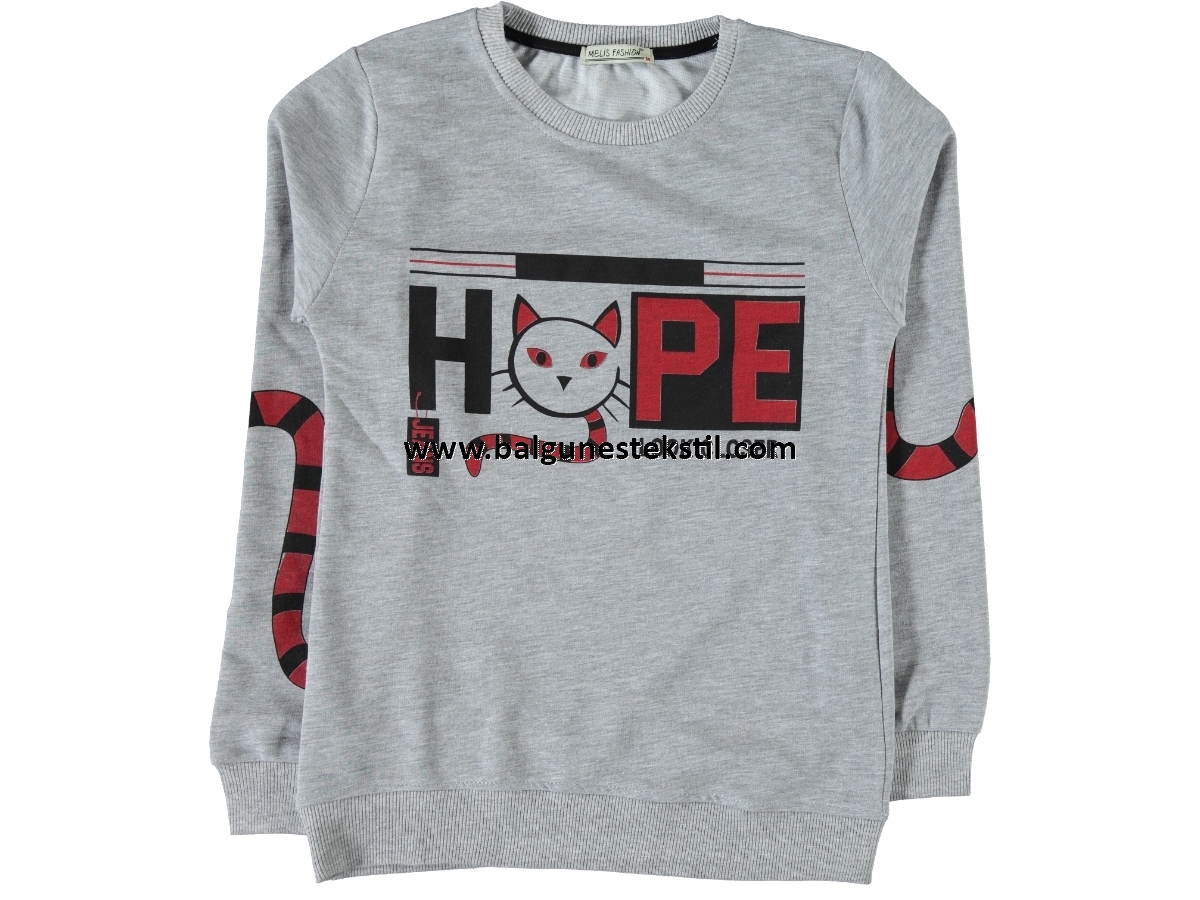 BAYAN HOPE BASKILI İKİ İP SWEAT M,L,XL