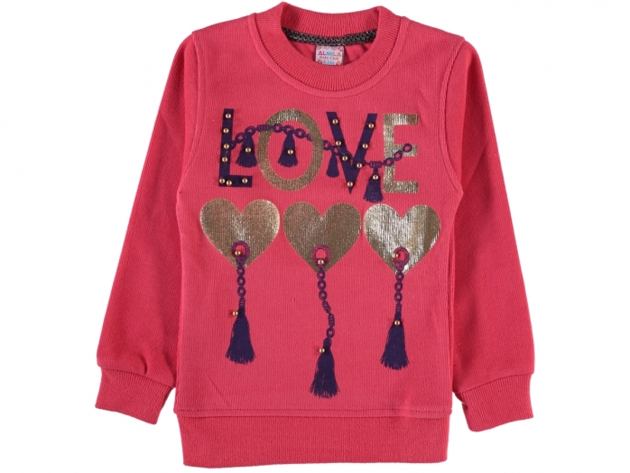 LOVE VARAK BASKILI SELANİK KIZ SWEAT 5/8 YAŞ
