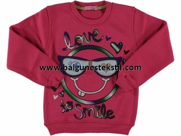 LOVE SMİLE BASKI ÜÇ İP 9/12 YAŞ KIZ SWEAT  - 9 Yaş,10 Yaş,11 Yaş,12 Yaş Yaş